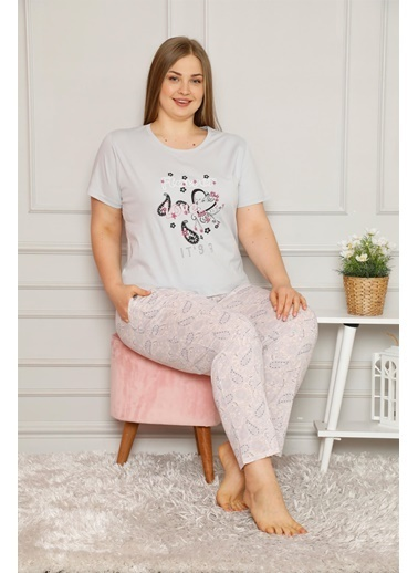 Akbeniz Kadın %100 Pamuk Cepli Kısa Kol Büyük Beden Pijama Takım 202081 Gri